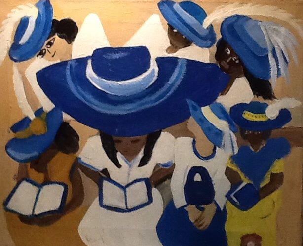 I did this peace starting with the large hat and then added others. I didn't think about it until I painted the hats...Blue Hats